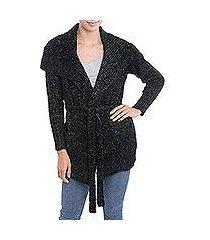 alpaca blend sweater, 'saturday morning in black' (peru)