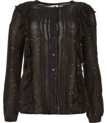 blouse met ruches velma  zwart