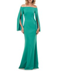 women's kay unger miriam cape sleeve off the shoulder trumpet gown