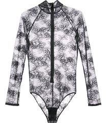 fleur du mal bouquet lace turtleneck bodysuit - black