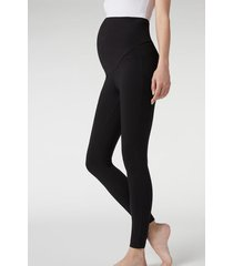 calzedonia cotton maternity leggings woman black size s