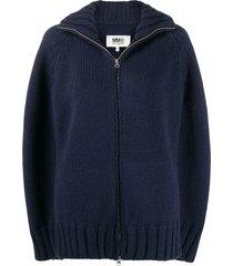mm6 maison margiela cape-style zip-up cardigan - blue