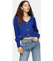 blue cropped knitted cardigan - blue