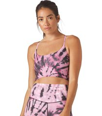 glyder women's pure yoga sports bra - berry tie dye x-small cotton moisture wicking