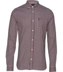 ls slim fit gingham shirt overhemd casual rood lyle & scott