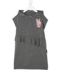 andorine peace hand hooded dress - grey
