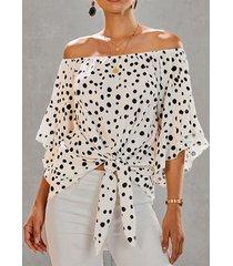 camicetta donna manica 3/4 lunghezza con stampa a pois annodata