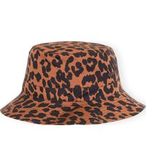 women's ganni print poplin bucket hat, size x-small/small - brown
