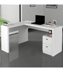 mesa para escritório 2 gavetas branco me4129 - tecno mobili
