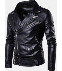 uomo giacca da motociclista in pu pelle slim fit con zip obliquo a taglia grande