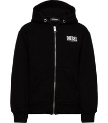 sgirkhoodzip-logo over sweat-shirt hoodie trui zwart diesel