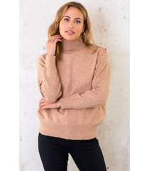 button col sweater camel