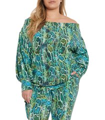 plus size women's coldesina stevey off the shoulder knit top, size 1x - green