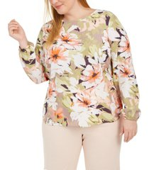 nine west plus size floral-print top