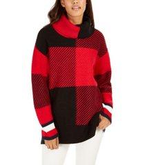 tommy hilfiger cowlneck plaid sweater