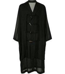 yohji yamamoto oversized rope toggle coat - black