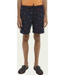 scotch & soda embroidered mid-length swim shorts
