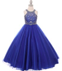 royal blue halter style rhinestones sequins bodice tulle skirt corset back dress