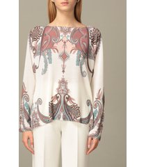 blumarine sweater wide neckline in wool and cashmere jacquard silk
