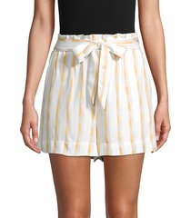 bcbgeneration women's tie-front high-waist striped shorts - optic white - size xs