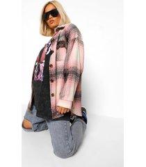 petite dikke geruite lange nepwollen blouse jas, pink