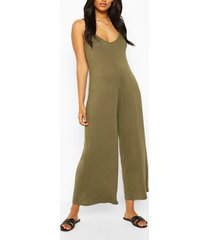 maternity slouchy strappy jumpsuit, khaki