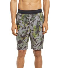 zella men's core stretch woven shorts, size medium in grey multi texture print at nordstrom