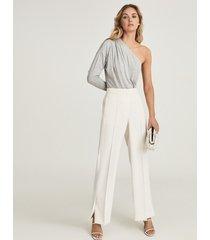 reiss june - one shoulder jersey bodysuit in grey marl, womens, size xl