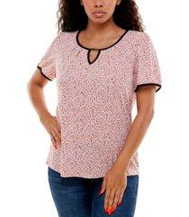 adrienne vittadini women's short sleeve blouse with keyhole