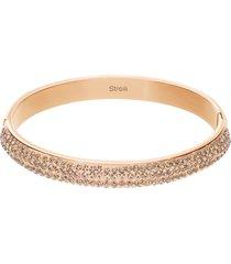 bracciale rigido in acciaio rosato e strass 8 mm per donna