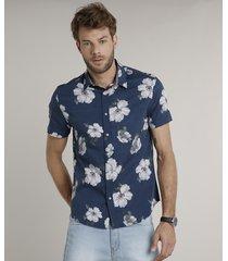 camisa masculina comfort estampada floral manga curta azul