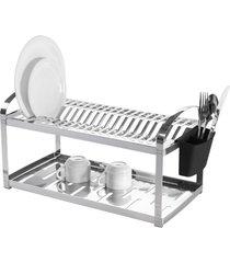 escorredor de pratos brinox inox para 20 unidades prata - kanui