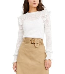 i.n.c. petite ruffled pointelle pullover sweater, created for macy's