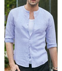 incerun hombre verano algodón fino y lino botón siete mangas cuello alto camisa