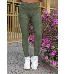 calça legging malha onça verde