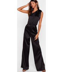 womens bow above and beyond satin wide-leg jumpsuit - black