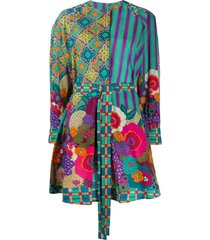 alberta ferretti multi-pattern tie waist shirt dress - green