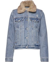 sherpa collar denim coat jeansjack denimjack blauw abercrombie & fitch