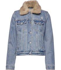 sherpa collar denim coat jeansjack denimjack blauw abercrombie & fitch