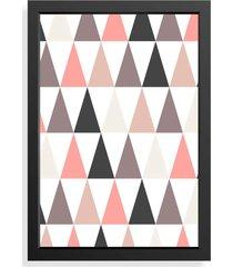 quadro love decor decorativo geométrico rosa/cinza - tricae