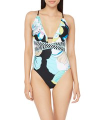 women's trina turk sintra floral one-piece swimsuit, size 14 - black