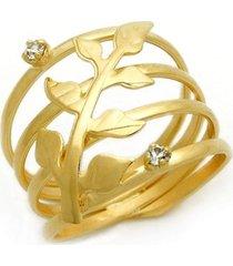 anel folha encantada horus import strass cristal banhado amarelo