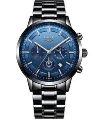 reloj cuarzo deportivo hombre lujo negocios lige 9877 azul