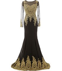 vintage sheer long sleeves mermaid gold lace corset formal prom evening dresses