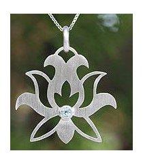 blue topaz flower necklace, 'lotus purity' (thailand)