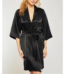 icollection-renee satin ultra soft lounge robe, wrap