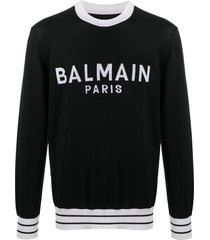 balmain logo knitted jumper - black