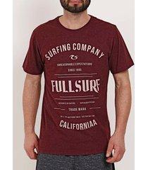 camiseta manga curta masculina full surf bordô