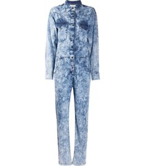 isabel marant étoile washed effect denim jumpsuit - blue