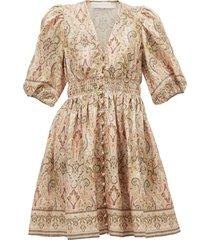 freja paisley-print linen mini dress